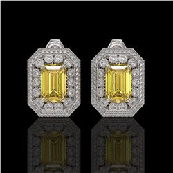 11.03 ctw Canary Citrine & Diamond Victorian Earrings 14K White Gold