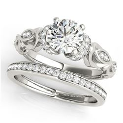 0.95 ctw Certified VS/SI Diamond 2pc Wedding Set Antique 14k White Gold