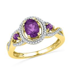 10kt Yellow Gold Oval Lab-Created Amethyst Solitaire Diamond Ring 1.00 Cttw