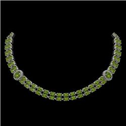 37.23 ctw Tourmaline & Diamond Necklace 14K White Gold