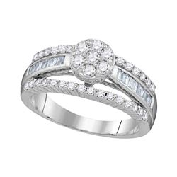 10kt White Gold Round Diamond Flower Cluster Bridal Wedding Engagement Ring 1.00 Cttw