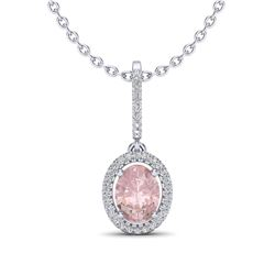 1.60 ctw Morganite & Micro VS/SI Diamond Necklace Halo 18k White Gold
