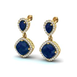 7 ctw Sapphire & Micro Pave VS/SI Diamond Earrings Designer 10k Yellow Gold