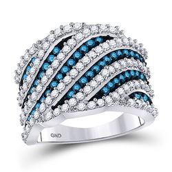 10kt White Gold Round Blue Color Enhanced Diamond Diagonal Stripe Fashion Ring 1-7/8 Cttw