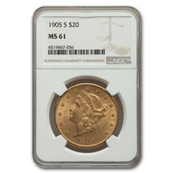 1905-S $20 Liberty Gold Double Eagle MS-61 NGC