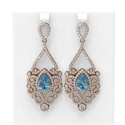 9.06 ctw Blue Topaz & Diamond Earrings 18K Rose Gold