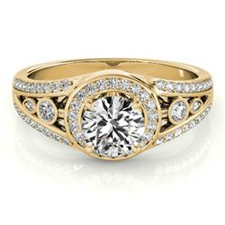 1.15 ctw Certified VS/SI Diamond Halo Ring 18k Yellow Gold