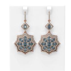 12.2 ctw Blue Topaz & Diamond Earrings 18K Rose Gold