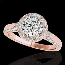 2.15 ctw Certified Diamond Solitaire Halo Ring 10k Rose Gold