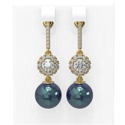 1.92 ctw Diamond & Pearl Earrings 18K Yellow Gold