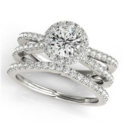 1.63 ctw Certified VS/SI Diamond 2pc Wedding Set Halo 14k White Gold