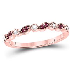 10kt Rose Gold Round Ruby Diamond Marquise Dot Stackable Band Ring 1/8 Cttw