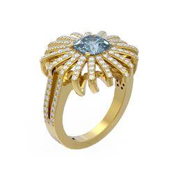 3.05 ctw Aquamarine & Diamond Ring 18K Yellow Gold