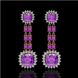 18.96 ctw Amethyst & Diamond Earrings 14K Rose Gold