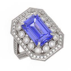 5.86 ctw Certified Tanzanite & Diamond Victorian Ring 14K White Gold