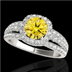 2.25 ctw Certified SI/I Fancy Intense Yellow Diamond Ring 10k White Gold