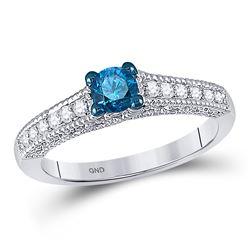 10kt White Gold Round Blue Color Enhanced Diamond Milgrain Bridal Wedding Engagement Ring 1/2 Cttw