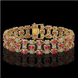 15.64 ctw Tourmaline & Diamond Row Bracelet 10K Yellow Gold