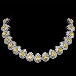 103.62 ctw Canary Citrine & Diamond Victorian Necklace 14K White Gold
