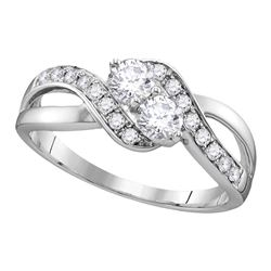 10kt White Gold Round Diamond 2-stone Hearts Together Bridal Wedding Engagement Ring 5/8 Cttw