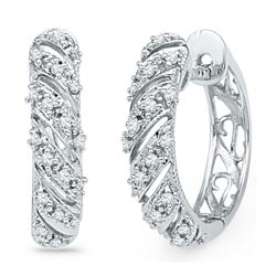 10kt White Gold Round Diamond Diagonal Stripe Hoop Earrings 1/6 Cttw