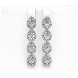 6.01 ctw Pear Cut Diamond Micro Pave Earrings 18K White Gold