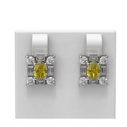 3.35 ctw Canary Citrine & Diamond Earrings 18K White Gold