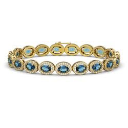 14.82 ctw London Topaz & Diamond Micro Pave Halo Bracelet 10k Yellow Gold