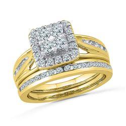 10kt Yellow Gold Round Diamond Cluster Bridal Wedding Engagement Ring Band Set 1.00 Cttw