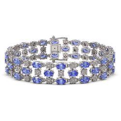 23.9 ctw Tanzanite & Diamond Bracelet 10K White Gold