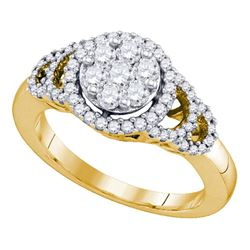 10kt Yellow Gold Round Diamond Cluster Ring 3/4 Cttw