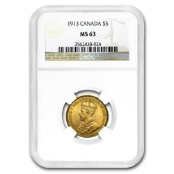 1913 Canada Gold $5 MS-63 NGC