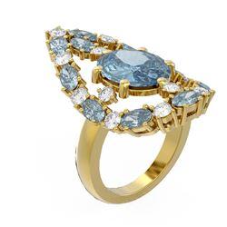 9.63 ctw Blue Topaz & Diamond Ring 18K Yellow Gold