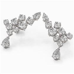 4.34 ctw Pear Diamond Designer Earrings 18K White Gold