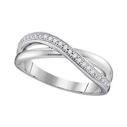 10kt White Gold Round Diamond Crossover Band Ring 1/8 Cttw