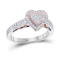10kt Two-tone Gold Round Diamond Heart Ring 1/3 Cttw