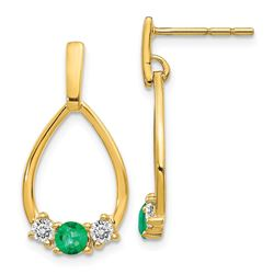 14k Yellow Gold w/ Emerald/White Sapphire Post Earrings - 59 mm