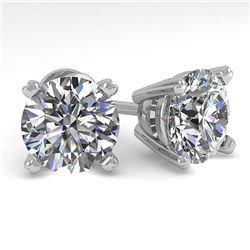 4 ctw Certified VS/SI Diamond Stud Earrings 18K White Gold