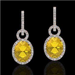 6 ctw Citrine & Micro Pave Halo VS/SI Diamond Earrings 14k Rose Gold