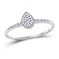 10kt White Gold Round Diamond Teardrop Cluster Slender Ring 1/12 Cttw