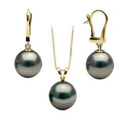 Black Tahitian Pearl Solitaire Pendant and Dangle Earring Set