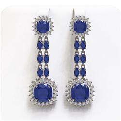 19.88 ctw Sapphire & Diamond Earrings 14K White Gold