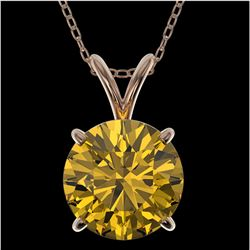 2 ctw Certified Intense Yellow Diamond Necklace 10k Rose Gold
