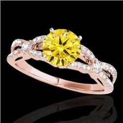 1.35 ctw Certified SI/I Fancy Intense Yellow Diamond Ring 10k Rose Gold