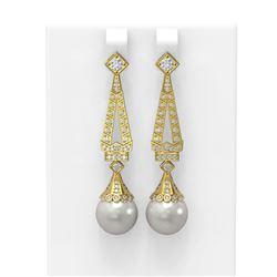 1.55 ctw Diamond & Pearl Earrings 18K Yellow Gold