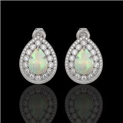 7.88 ctw Certified Opal & Diamond Victorian Earrings 14K White Gold
