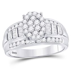 10kt White Gold Diamond Oval Cluster Bridal Wedding Engagement Ring 1.00 Cttw