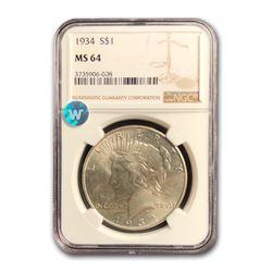 1934 Peace Dollar MS-64 NGC