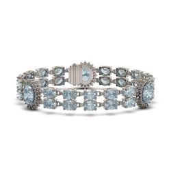 19.3 ctw Sky Topaz & Diamond Bracelet 14K White Gold