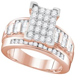 10kt Rose Gold Round Diamond Elevated Rectangle Cluster Bridal Wedding Engagement Ring 1.00 Cttw